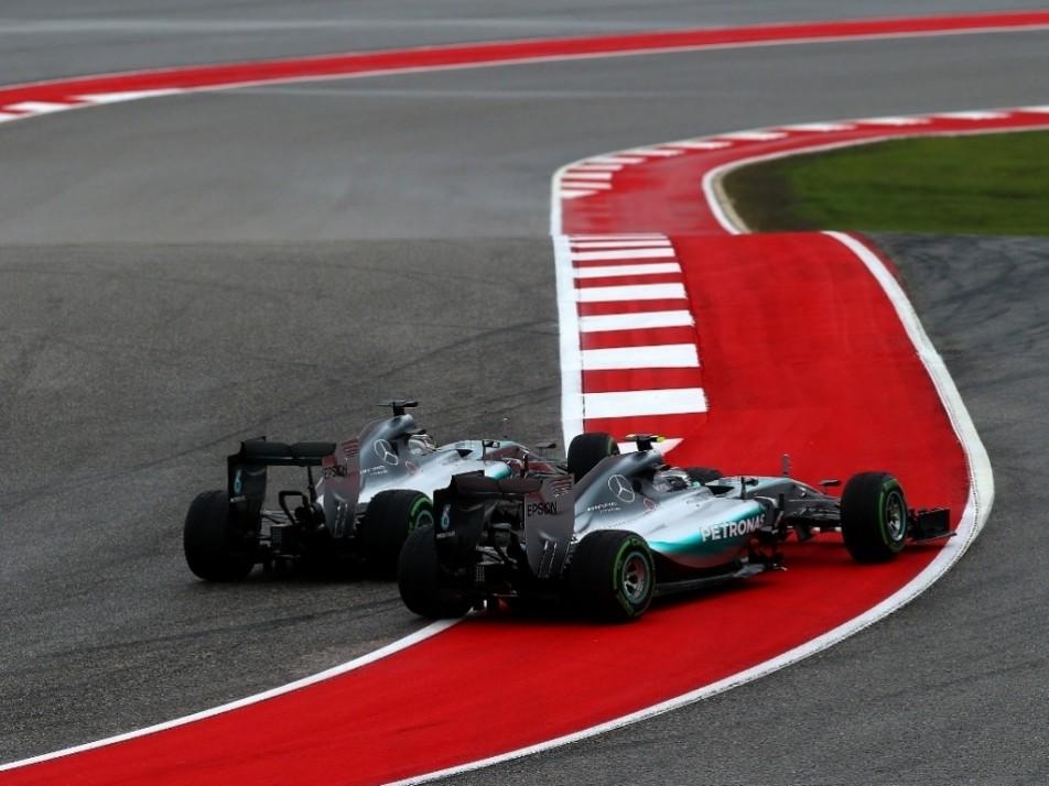Hamilton and Rosberg had several close battles