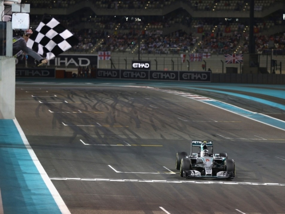 Rosberg took the chequered flag ahead of Hamilton