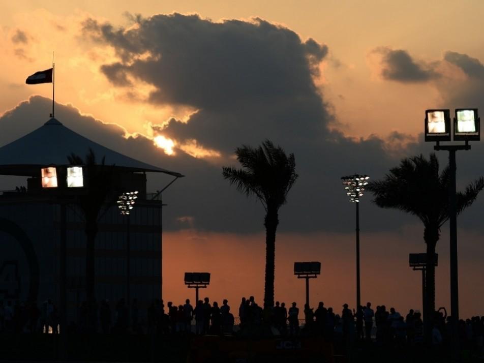 The sun sets over the Yas Marina circuit