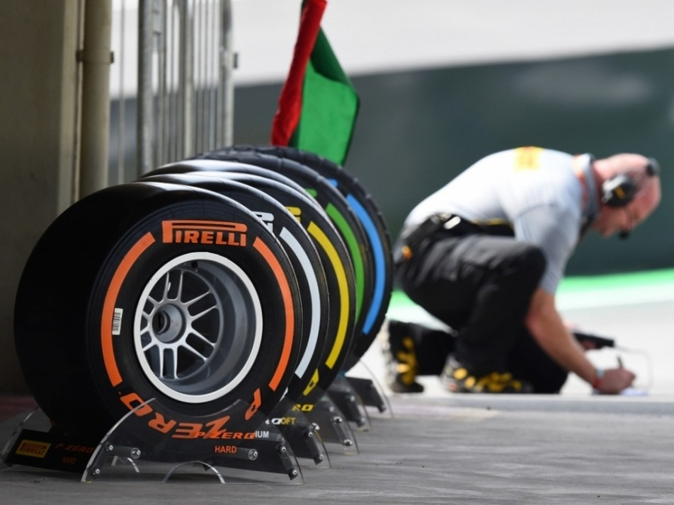 The Pirelli tyres on display