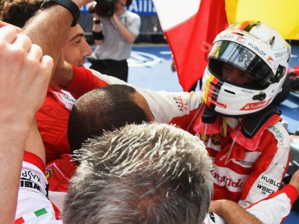 Sebastian Vettel took the chequered flag in Malaysia, his first win as a Ferrari driver