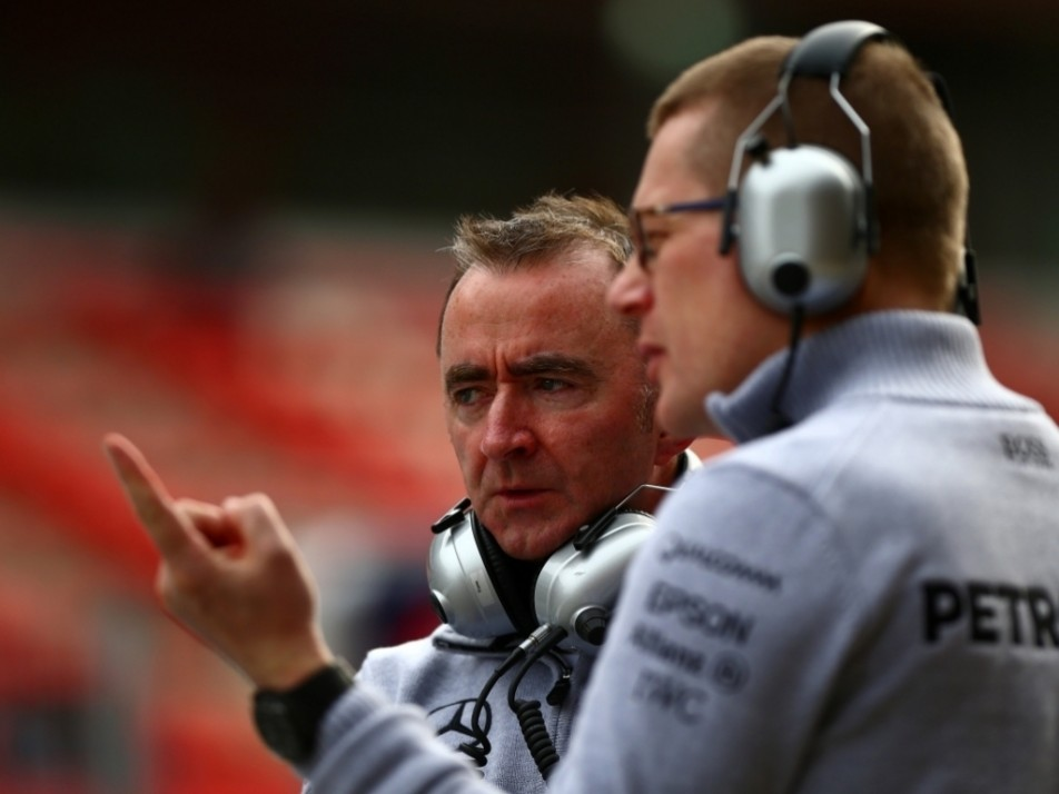 Paddy Lowe and Andy Cowell watch on
