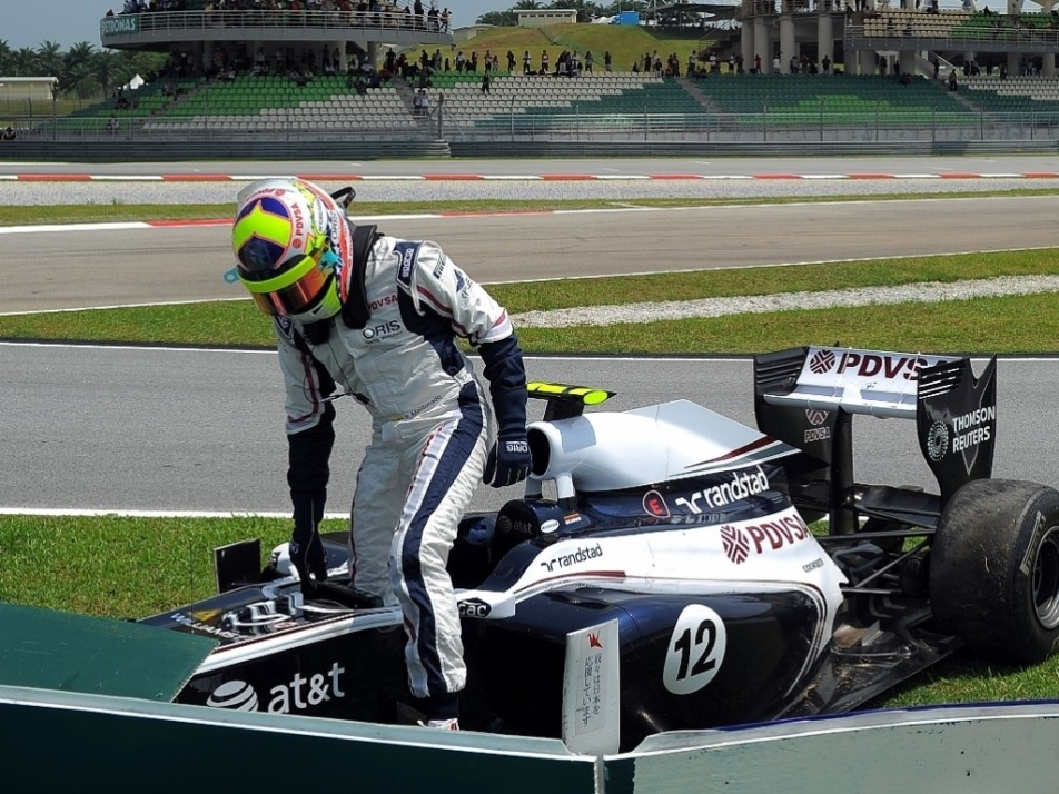 2011 Malaysian GP: Crashed into the wall in second practice, his first notable crash in F1...
