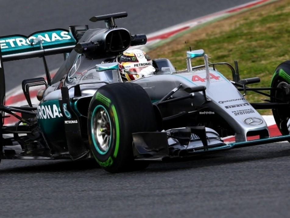 Hamilton taking a corner