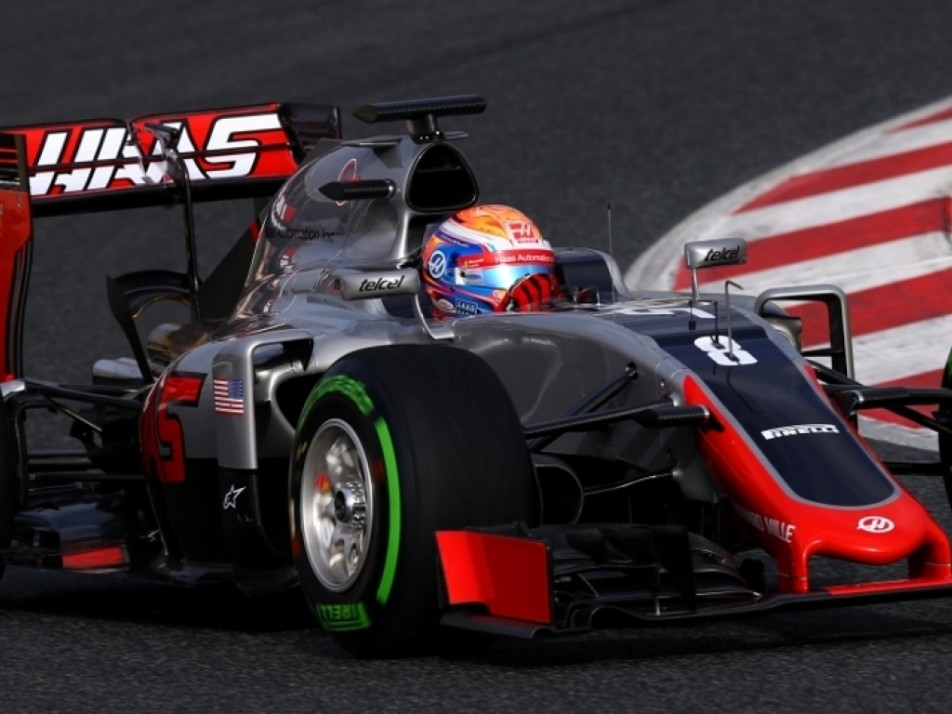 Close up of the Haas car in action
