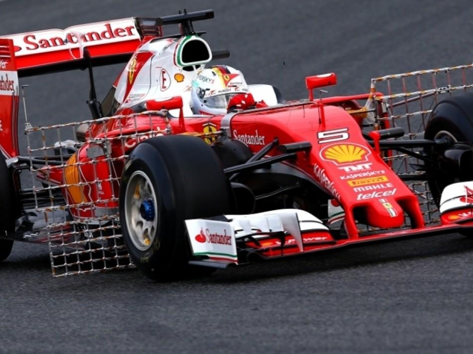 Vettel showing of Ferrari with aerodynamic sensors