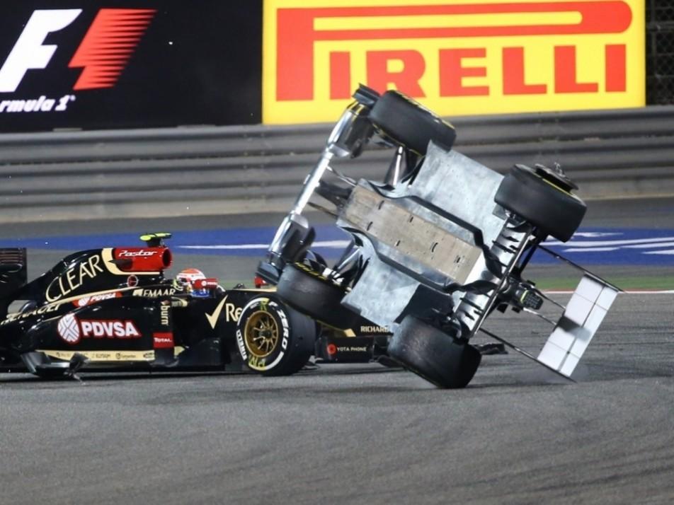 2014 Bahrain GP: Crashes into Esteban Gutierrez, flipping the Sauber driver...