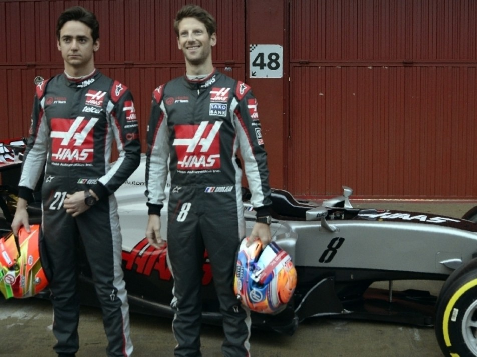 Grosjean and Gutiérrez at the Haas 2016 unveiling